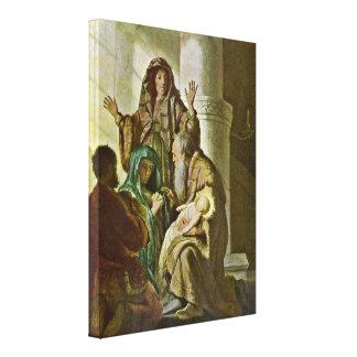 Rembrandt van Rijn - Hannah and Simeon at temple Canvas Print