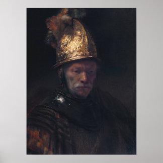Rembrandt Van Rijn, hombre con el casco de oro Póster