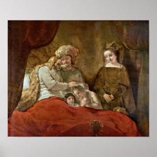 Rembrandt Van Rijn - Jacob que bendicen a los hijo Impresiones