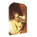 Rembrandt Van Rijn - mujer joven en cama Impresión De Lienzo