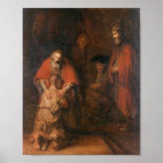 Rembrandt - vuelta del hijo despilfarrador póster