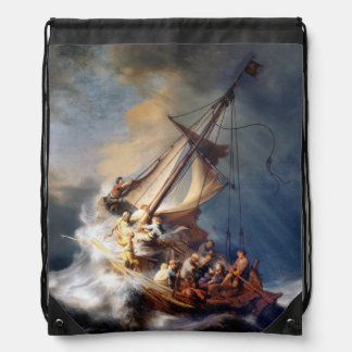 Rembrandts Storm on Sea of Galilee Drawstring Bag