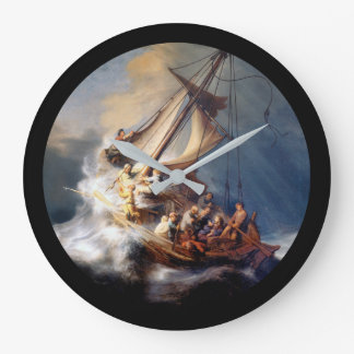 Rembrandts Storm on Sea of Galilee Large Clock