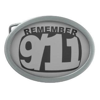 remember 911 oval belt buckle