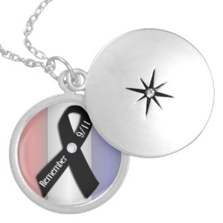 Remember 9/11 black ribbon necklace