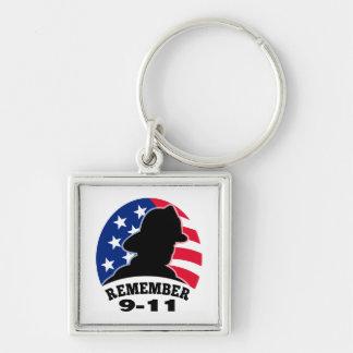 Remember 9-11 fireman firefighter american flag keychain