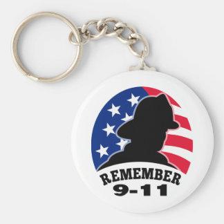 Remember 9-11 fireman firefighter american flag key chains
