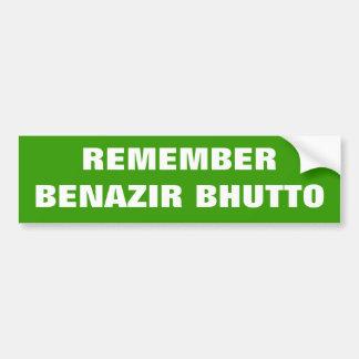 REMEMBER BENAZIR BHUTTO bumper sticker #2