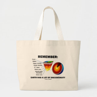 Remember: Earth Has A Lot Of Discontinuity Large Tote Bag