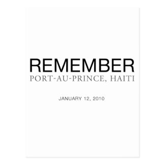 Remember Haiti Earthquake Postcard