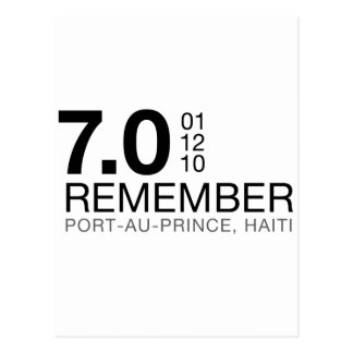 Remember Haiti Victims - 7.0 Earthquake Postcard