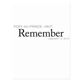 Remember Haiti Victims - Port-au-Prince Earthquake Postcard