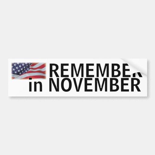 Remember in November bumper with flag Car Bumper Sticker