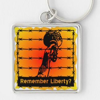 Remember Liberty? Silver-Colored Square Keychain
