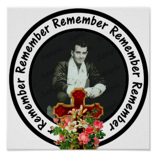 Remember Loved One Frame Circle Add Your Photo Poster