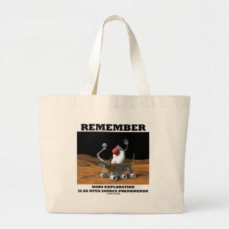 Remember Mars Exploration Open Source Duke Rover Canvas Bag