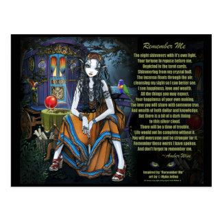Remember Me Gypsy Fortune Teller Poem Postcard