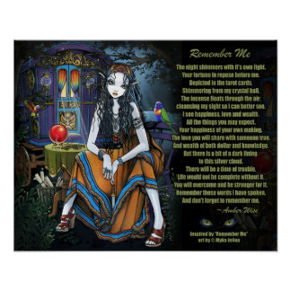 Remember Me Gypsy Fortune Teller Poem Poster