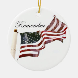 Remember  Memorial Day - Crosses Within Old Glory Ceramic Ornament