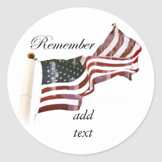 Remember  Memorial Day - Crosses Within Old Glory Classic Round Sticker
