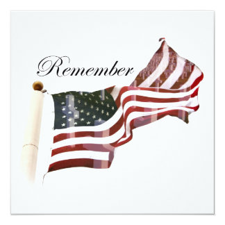"""Remember  Memorial Day - Crosses Within Old Glory 5.25"""" Square Invitation Card"""