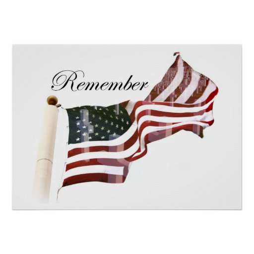Remember  Memorial Day - Crosses Within Old Glory Print