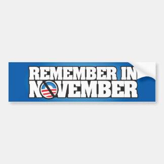 Remember November Car Bumper Sticker