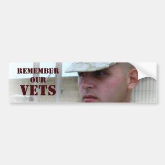 Remember Our Vets Bumper Sticker Car Bumper Sticker