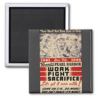 Remember Pearl Harbor 2 Inch Square Magnet