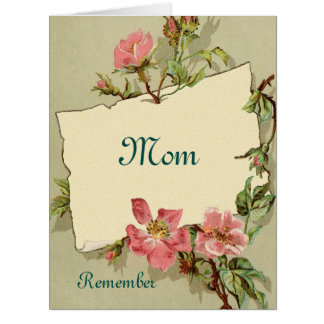 Remember Pink Roses Mother's Day Greeting Card