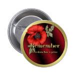 Remember Poppy 2 Inch Round Button