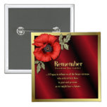 Remember Poppy 2 Inch Square Button
