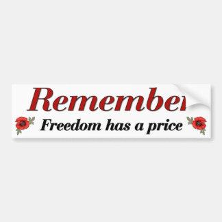 Remember Poppy Car Bumper Sticker