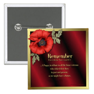 Remember Poppy Pinback Button