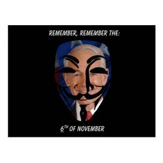 Remember, Remember the (6)th of November Postcard