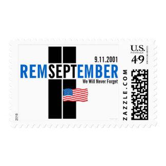 Remember September 11 Flag Blue Med Postage