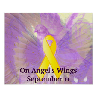 Remember September 11 On Purple Angel's Wings Poster