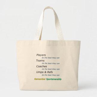 Remember Sportsmanship Large Tote Bag