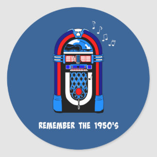 Remember the 1950's, white text on dark color classic round sticker