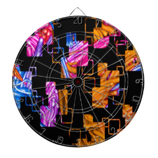 remember the 60s and 70s, red orange retro dartboard with darts
