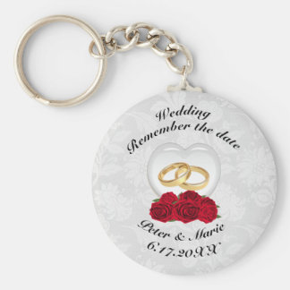 Remember The Date Wedding Hearts and Roses Keychain