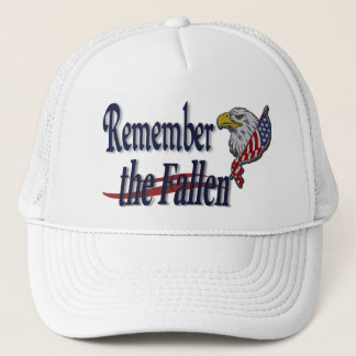 Remember the Fallen with Eagle and Flag Military Trucker Hat