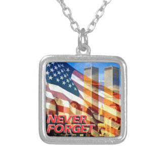 Remember The September 11, 2001 Terrorist Attacks Silver Plated Necklace