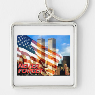 Remember The Terrorist Attacks on 9/11/01 Silver-Colored Square Keychain