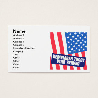 Remember Those Who Serve Business Card