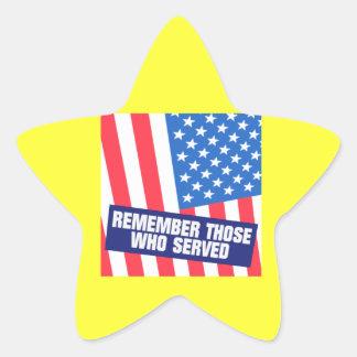 Remember Those Who Serve Star Sticker