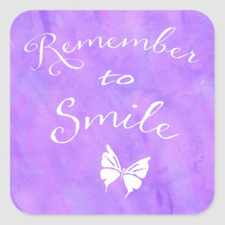 Remember To Smile Inspirational Quote Square Sticker