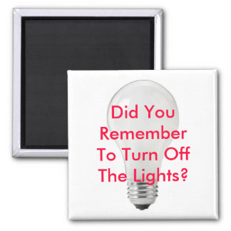 Remember To Turn Off Lights Green Magnet