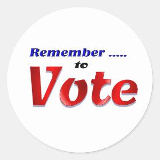 Remember to Vote Sticker