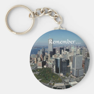 Remember ~ Twin Towers View~ WTC NYC Manhattan Basic Round Button Keychain